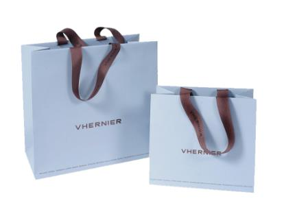 Luxury Paper Bags With Ribbon Handle And Printed Logo