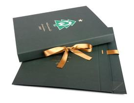 Custom Made Foldable Rigid Boxes With Printed Logo And Ribbon Closure