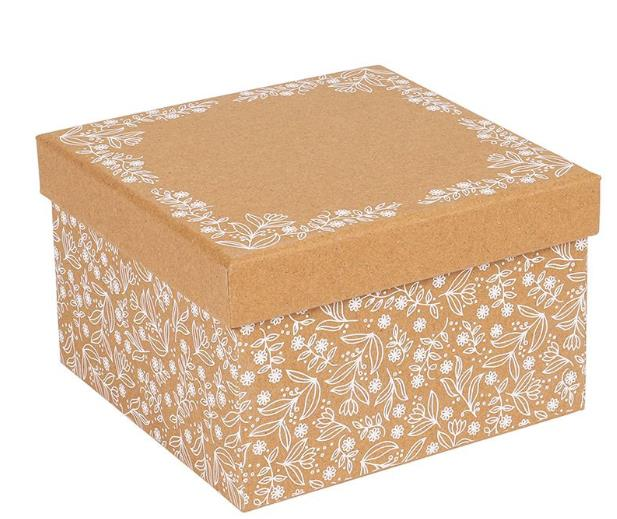 Recycled Kraft Gift Boxes With Flora Design